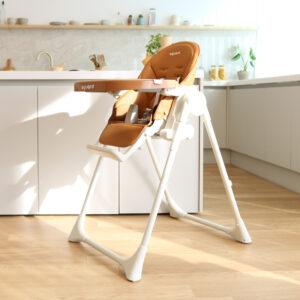 aguard 2.0 Tosby 7 段式可躺高腳餐椅-焦糖白色